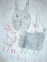 めばえちゃん7歳「魔女の宅急便」の黒猫ジジを描いてくれました